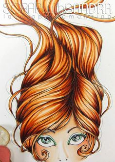 Copic Marker Europe: Happy Birthday. Skin: E000-00-01-11-71- 93 Hair:E07-08-09-18-29 YR 12-15-18 Eyes:G00-02