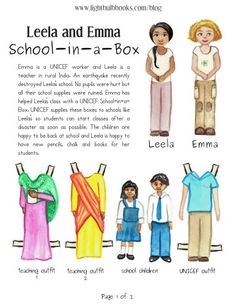 Free UNICEF worker paper dolls. The second page has a paper craft where kids can put together their own School-in-a-Box. Helps kids discover careers in giving back.