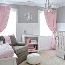 Pink gray and white nursery Could be how i do my little girls rooms. reverse the colors, light rose on the walls, pretty grey and rose curtains...white furniture....princess castle painted in the corner of the room yes I could see this.