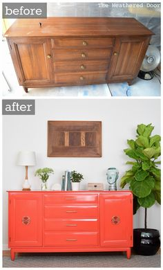 Furniture Before and After. Willett Salsa buffet-dresser-credenza high gloss modern makeover before and after from The Weathered Door