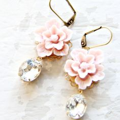 Blush and Crystal Earrings by NestPrettyThingsShop on Etsy, $24.00