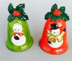 Vintage Lefton Japan Holly Bell Snowman Couple Christmas Salt & Pepper Shakers