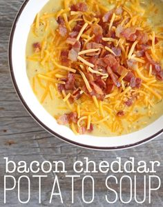 healthy food recipes chiken dinner cooking super fast dinner idea: Bacon Cheddar Potato Soup (make it in about 20 minutes! Fall Recipes, Dinner Recipes, Yummy Dinner Ideas, Soup Recipes, Recipies, Cheddar Potatoes, Canned Potatoes, Fast Dinners, Fast Easy Meals