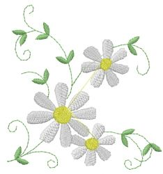 AnnTheGran Embroidery Design: Daisy Flowers 3.85 inches H x 3.76 inches W