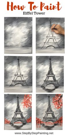How To Paint Eiffel Tower - Step By Step Painting Learn how to paint the eiffel tower using only three colors. This gray and red color scheme painting is very easy for the beginner acrylic painter. Cute Canvas Paintings, Canvas Painting Tutorials, Easy Canvas Painting, Diy Painting, Canvas Art, Watercolor Painting, Acrylic Paintings, Art Paintings, Modern Paintings
