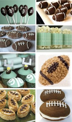 Room For Dessert | food + party + style: SUPER BOWL DESSERT IDEAS Football Themes, Football Party Foods, Football Food, Football Parties, Football Cookies, Football Recipes, Rugby, Football Tailgate, Football Birthday