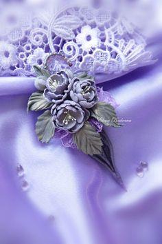 """Брошь из кожи """"Lavender"""" - бледно-сиреневый,лавандовый,лавандовый цвет"""
