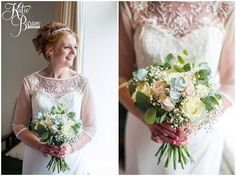 Pink and ivory roses mixed with eucalyptus and gyp a lovely combination....