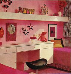 A 1960s pink bedroom...wanted something like this...