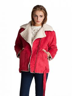 Red Lapel Shearling Oversize Coat With Zipper Detail Dresses #Tops #Swimwear #Jeans #Jackets #Skirts #Shoes