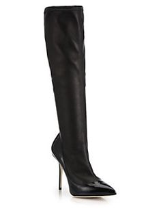 Dolce & Gabbana - Stretch Nappa & Patent Leather Knee-High Boots