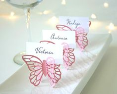 Butterfly Place Cards Black Set of 100 by Chaiv on Etsy Butterfly Place, Butterfly Baby Shower, Butterfly Party, Butterfly Wedding, First Birthday Parties, Birthday Party Themes, First Birthdays, Wedding Cards, Diy Wedding