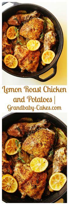 Lemon Roasted Chicken and Potatoes | Grandbaby-Cakes.com