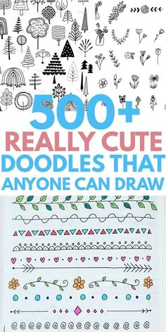 Simple easy DOODLES you will love to DIY in your notebook or bullet journal. Cute ideas from heart flower animals patterns Christmas holiday succulent plants dividers borders and more. Cool drawings that any artist can copy. Cute Easy Doodles, Easy Doodles Drawings, Cute Doodle Art, Doodle Art Designs, Doodle Patterns, Doodle Art Simple, Art Drawings, Easy Doodles To Draw, Things To Doodle