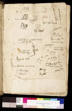 Chaucer's Canterbury Tales (1400) -Flyleaf with various pen-trials and inscriptions-  John Rylands Library.