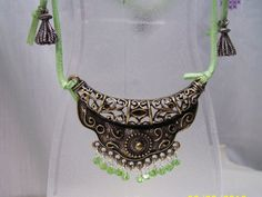Antique Gold and Peridot Crystals Necklace by gartenglitz on Etsy, $15.00