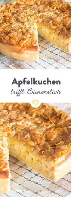 Twice as tasty: apple pie meets bee sting- Doppelt lecker: Apfelkuchen trifft Bienenstich Apple pie or beetroot? Why decide if … - Apple Recipes, Sweet Recipes, Baking Recipes, Cake Recipes, Dessert Recipes, Food Cakes, Honey Almonds, Pumpkin Spice Cupcakes, Cakes And More
