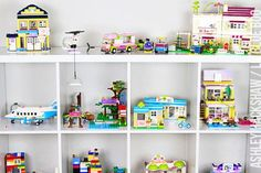 lego storage ideas for build sets / built sets Lego storage and DIY display ideas. How to store legos and display built sets in an attractive way. Store Legos out in the open and without plastic bins. Lego Storage Brick, Diy Toy Storage, Storage Ideas, Playroom Storage, Lego Girls, Lego For Kids, Kids Diy, Boys, Lego Friends Storage