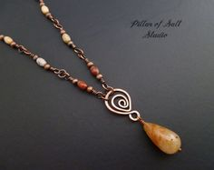 Copper Wire wrapped necklace Wire wrapped by PillarOfSaltStudio