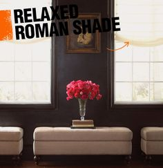 A relaxed roman shade is a type of roman shade in which the fabric has a subtle dip in the center, giving it a more casual look.