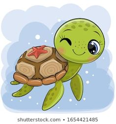 Cartoon water turtle on a blue background vector image on VectorStock Cute Turtle Drawings, Baby Animal Drawings, Cute Cartoon Drawings, Cute Cartoon Animals, Easy Drawings, Cartoon Art, Cute Animals, Cute Turtle Cartoon, Cute Turtles