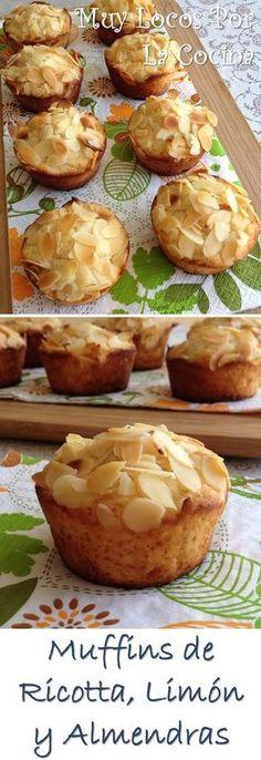 Muffins de Ricotta, Limón y Almendras: Una base suave de queso ricotta, aroma de limón y almendras laminadas crujientes hacen de estos muffins una delicia . Encuéntralos en www.muylocosporlacocina.com.