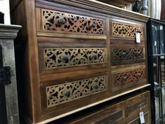 We love intricate design with lots of interesting patterns & sometimes color!!  Our pieces are truly one of a kind as no two pieces are alike.  We manufacture & Import from India and we love SOLID WOOD.  NO fake wood EVER.  Lots of solid iron accents, genuine full hide leather and all sizes, styles, finishes & sizes.  Manzel, 96 Foster St., Peabody, MA and www.manzelinc.com #boho #handcarved #solidwood #eclecticdesign Rustic Wood Furniture, Online Furniture Stores, Eclectic Design, Hand Carved, Solid Wood, Carving, Iron, India, Boho