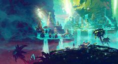 Duelyst_digital_painting_illustration_environment_landscape_city_nature_mystic