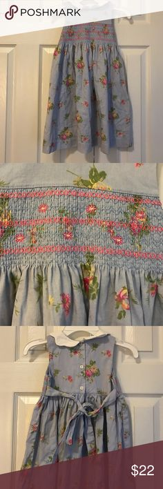 Laura Ashley blue smocked floral print girls dress Dainty dress button back with tie smocked chest scalloped collar size 4t Laura Ashley Dresses Formal
