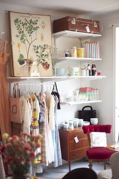 create shelving closet at end of bed for guests? Use existing closet for linens, vacuum, craft supplies.