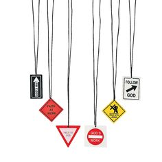 Religious Road Sign Necklaces - OrientalTrading.com
