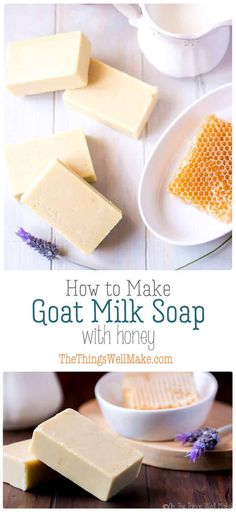 COLD PROCESS - Gentle on the skin, and with a nice, creamy lather, this goat milk soap with honey is one of my favorites. Learn the techniques of making soap with both milk and honey with this recipe. Goat Milk Recipes, Diy Peeling, Savon Soap, Honey Soap, Coconut Soap, Soap Making Supplies, Homemade Soap Recipes, Organic Soap, Goat Milk Soap