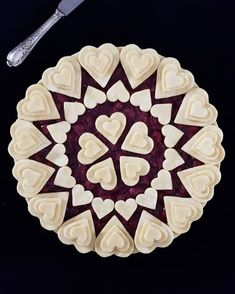 pie crusts Circles of hearts. Wild cherry and cranberry filling with rum. 2018 Copyright by karinpfeiffboschek …