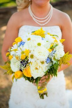 Loving the unexpected pops of blue in this yellow and white bouquet. | Summer Bouquet Ideas, Wedding Flowers Photos by Big Box Photo
