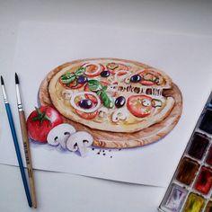 Пицца! Нельзя не удивиться! оригинальности моего выбора. Для марафона рисования от @lisa.krasnova и @art_markers #lk_sketchflashmob. #акварель #учусьрисовать #рисуюкаждыйдень #рисунок #пицца скетч #еда #watercolor #art #sketch #sketchbook #pizza