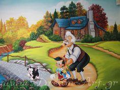 Pinocchio ζωγραφική σε παιδικό δωμάτιο