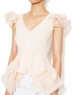 Silk Tulle Tiered Flutter Top by Zac Posen at Gilt