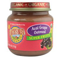 Earth's Best Organic Baby Food Stage 2 Super Fruits Acai Grape Oatmeal