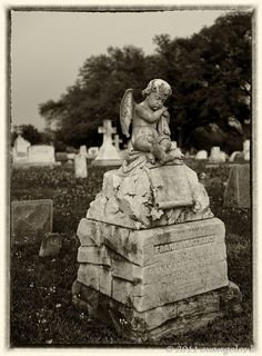 #Natchez: Boy Angel Statue at Dusk   #cemetery www.visitnatchez.org