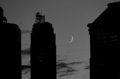 Found on NewYorkShitty - Moon & Skyscrapers by ataferner, via Flickr