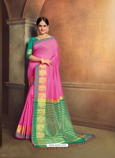 Genius Pink Cotton Silk Party Wear Saree Party Wear Sarees, Indian Ethnic Wear, Cotton Silk, Silk Sarees, Sari, Model, Pink, How To Wear, Stuff To Buy