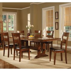 Lavista Rectangular Trestle Dining Table & Chairs by Coaster | Wooden Dining Table Rectangle Extension Pull Out Leaf Chair Trestle Base Set
