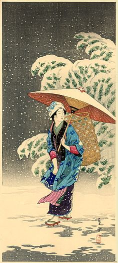 "The Shin Hanga (""new prints"": 新版画) movement extolled the virtues of the traditional ukiyo-e studio system, the so-called "" ukiyo-e qua... Spring Snow, Snow In Japanese, Vintage Japanese, Snow Japan, Japanese Artwork, Japanese Painting, Japanese Prints, Japan Spring, Famous Monuments"