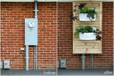slatted panel with planters hide electric meter. Make the panel full length and … slatted panel with planters hide electric meter. Make the panel full length and consider planter at bottom for climbing flowers or several planters Küchen Design, House Design, Hide Pipes, House Tweaking, Electric Box, Covered Boxes, House Front, Home Projects, Home Improvement