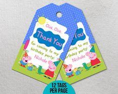 Peppa Pig Thank You Tags Peppa Pig Birthday Peppa Pig Party