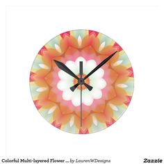Colorful Multi-layered Flower Kaleidoscope Round Clocks This pretty kaleidoscope design features shades of yellow, pink, orange and green with white petals.