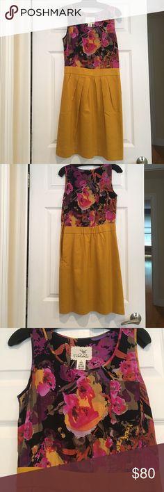 Tabitha Dress (Anthropology) Silk bodice with pocket detail, cotton skirt bottom. Never worn! Anthropologie Dresses