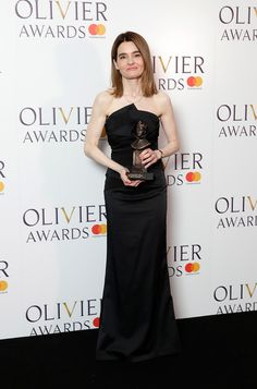 Shirley Henderson, winner of the Best Actress In A Musical award for 'Girl From The North Country', poses in the press room during The Olivier Awards with Mastercard at Royal Albert Hall on April 8, 2018 in London, England. Country Poses, Miss Independent, North Country, Royal Albert Hall, Best Actress, London England, Red Carpet, Awards, Harry Potter