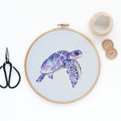 Sea Turtle Watercolor Modern Cross Stitch Pattern PDF #ad