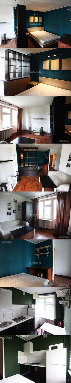 Однушка в панельке в Чертаново - 33м2. Пример очень бюджетного но симпатичного для аренды ремонта. Хорошее зонирование большой комнаты, приятный свет над кроватью и цвета.
